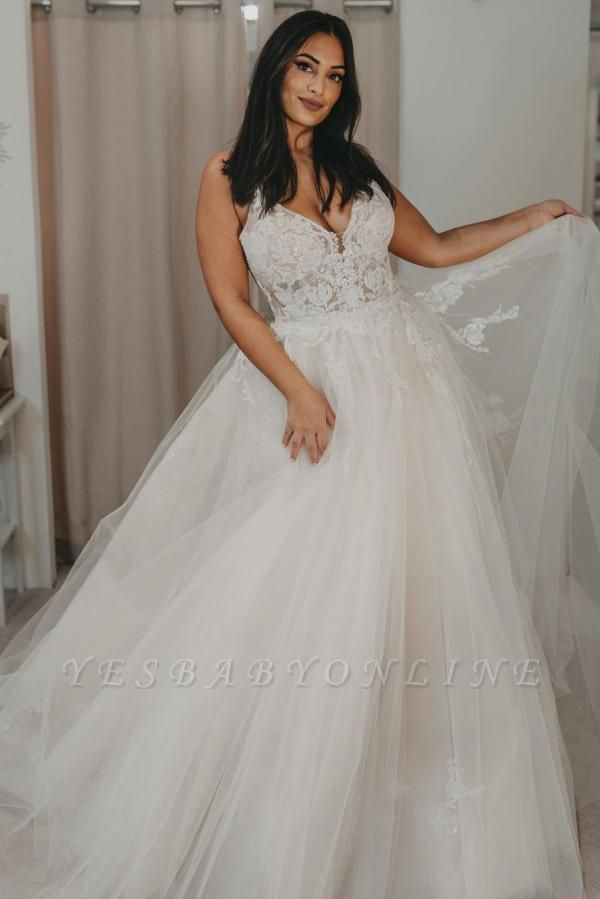 Glamorous Backless White Tulle A-Line Wedding Dresses With Lace Appliques