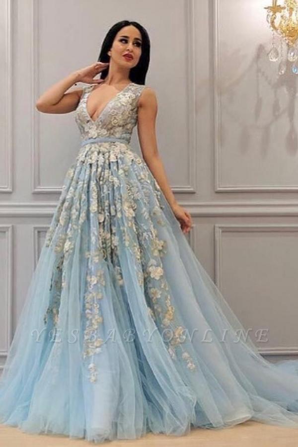 Glamorous Sleeveless Light Blue Tulle Lace Flowers Prom Dresses