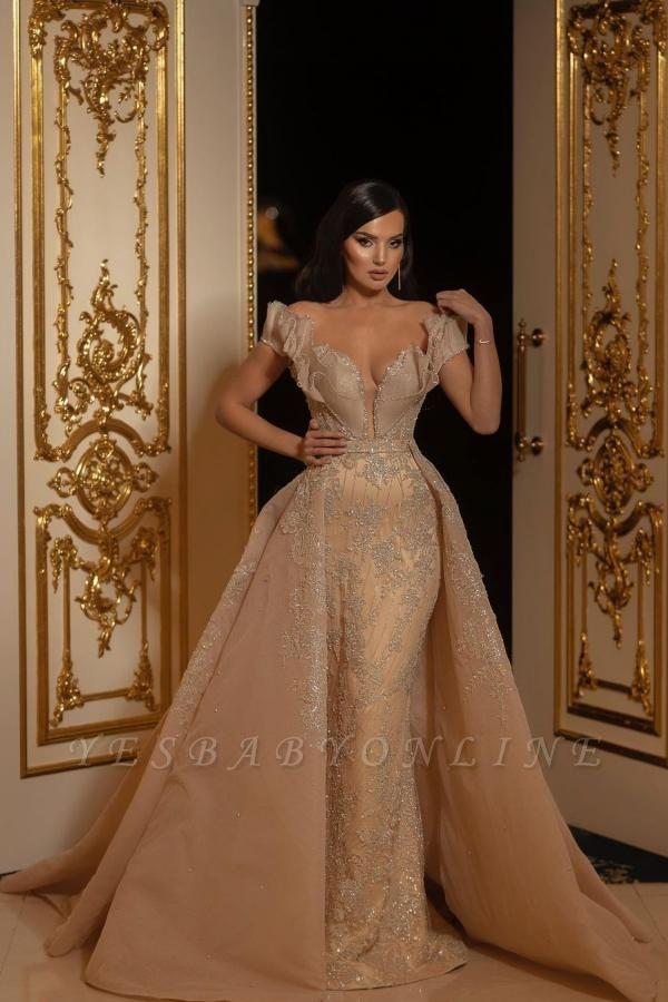 Elegant Off The Shoulder Sweetheart Flesh Color Wedding Dresses With Detachable Skirt