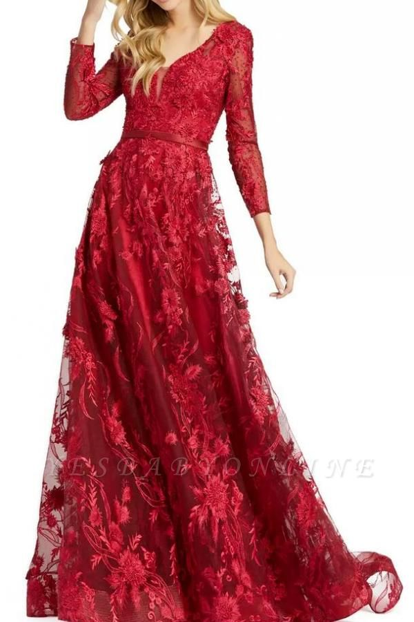 Tulle Long Sleeves Ruby Prom Dresses With Lace Appliques