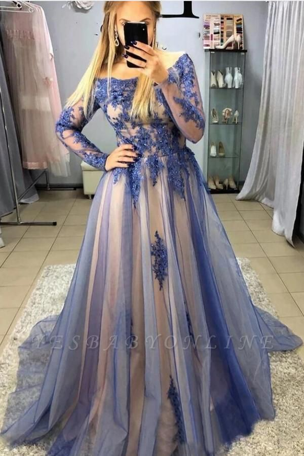 Long Sleeves Jewel Tulle Beading Appliques Prom Dresses
