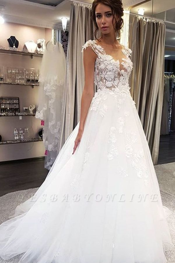 Elegant Jewel Sleeveless A-Line Wedding Dresses With  Appliques