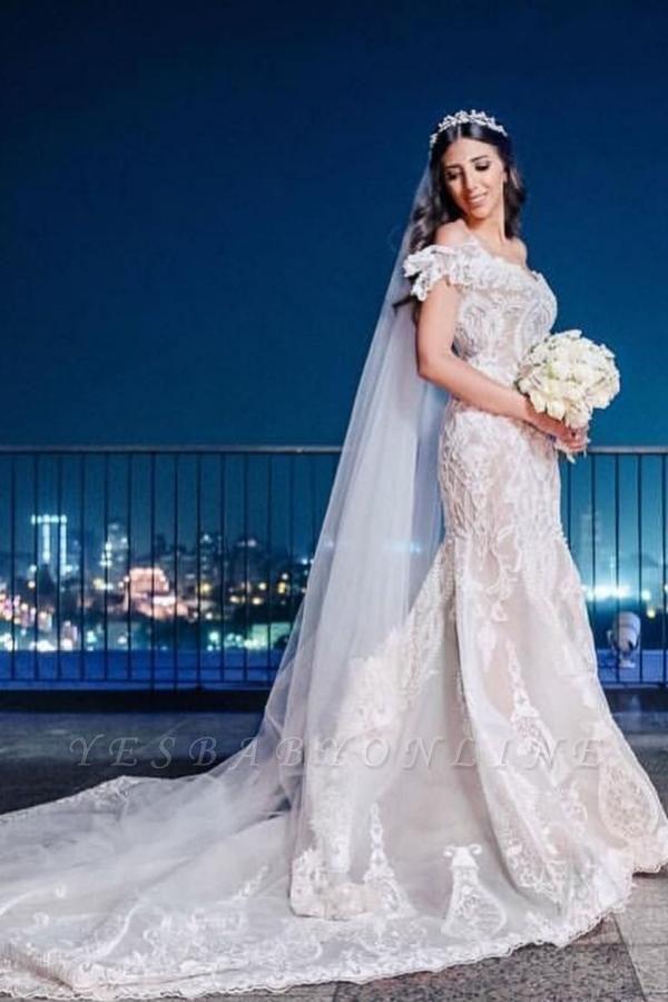 Elegant Off The Shoulder White Lace Appliques Mermaid Wedding Dresses