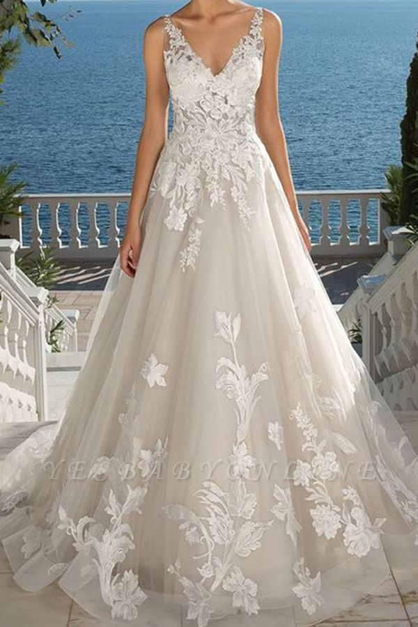 Floral V Neck Sleeveless Tulle Ivory Wedding Dresses With Appliques