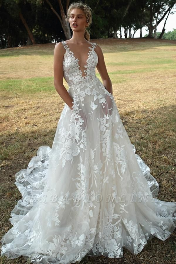 Floral Sleeveless V Neck Lace Appliques Wedding Dresses With Backless
