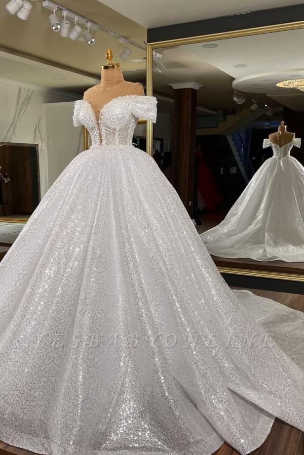Sequins Off The Shoulder White Ruffles Wedding Dresses Long