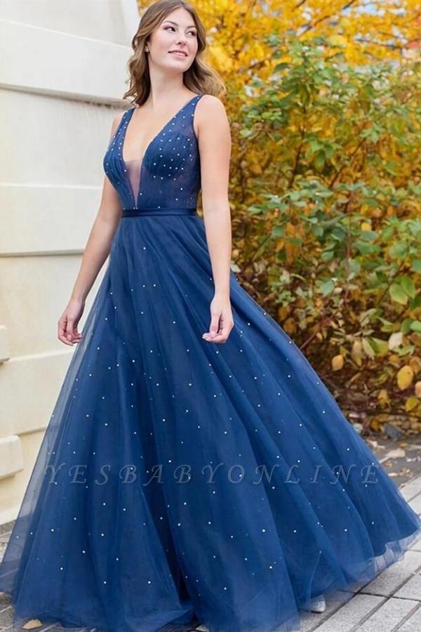 Glamourous Sleeveless Tulle Dark Blue Beading Prom Dresses V Neck Evening Dresses