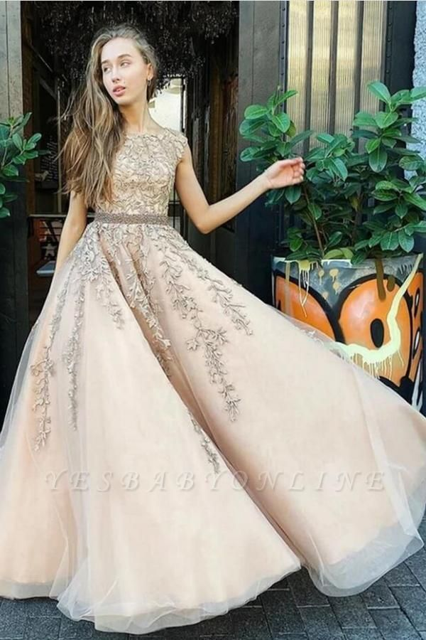 Luxury Sleeveless Tulle Jewel Appliques A-Line Prom Dresses