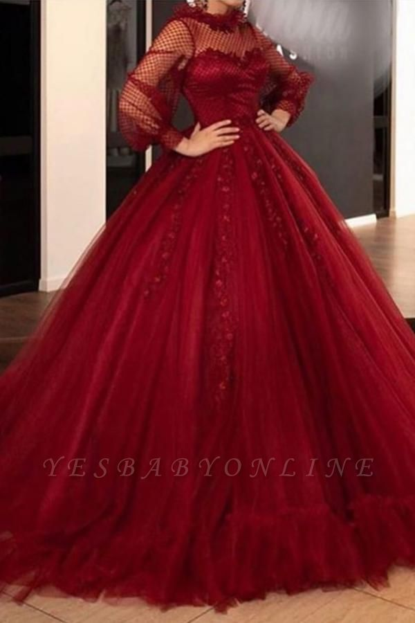 Vintage Tulle Jewel Long Sleeves Lace Appliques Ball Gown Evening Dresses