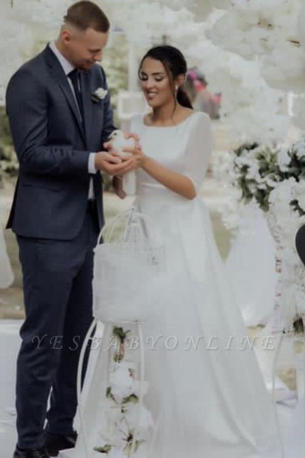 Elegant Jewel White Chiffon Ruffles Wedding Dresses With Half Sleeves