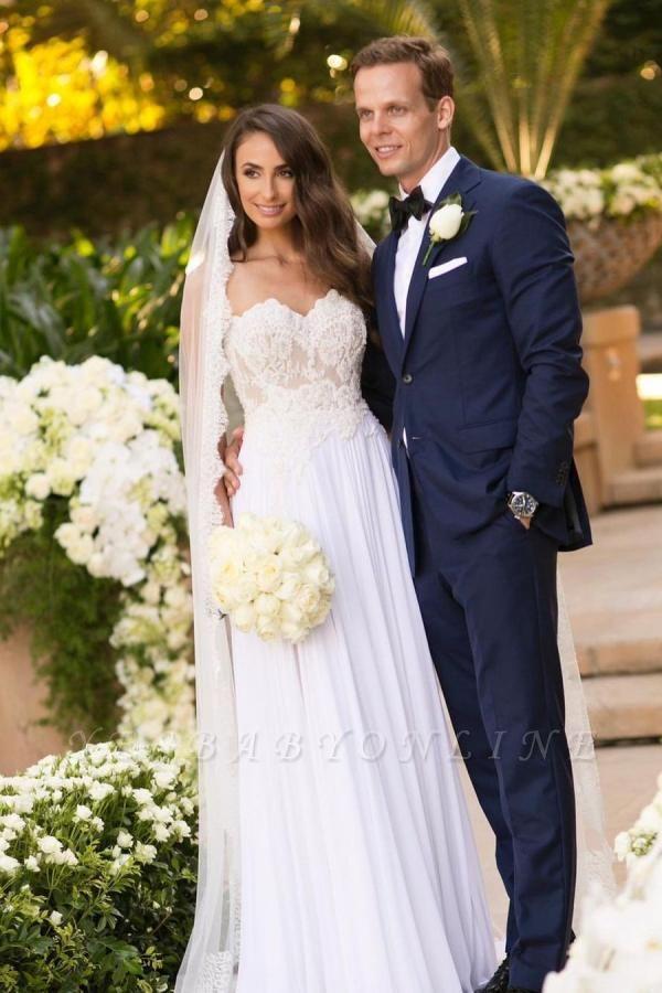 Sleek Sleeveless Chiffon White Sweetheart appliques A-Line Wedding Dresses