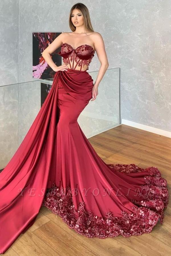 Luxury Strapless Ruby Ruffles Lace Mermaid Prom Dresses