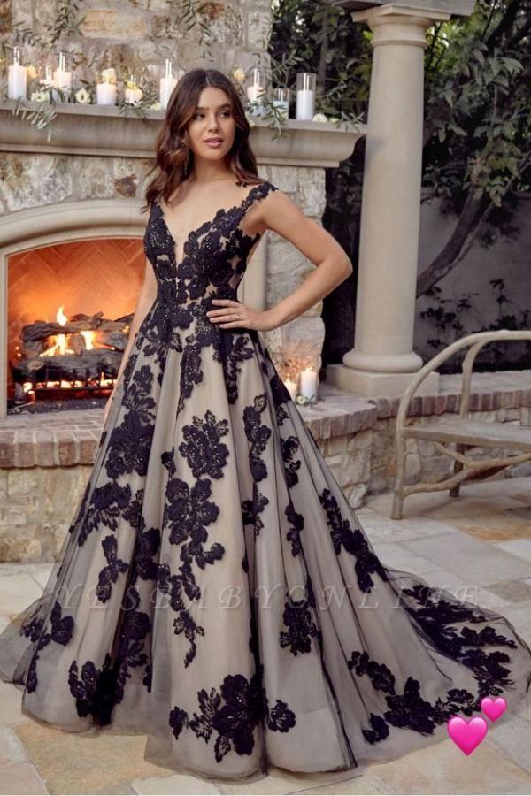 Elegant Backless Sleeveless Tulle Black Wedding Dresses With Lace