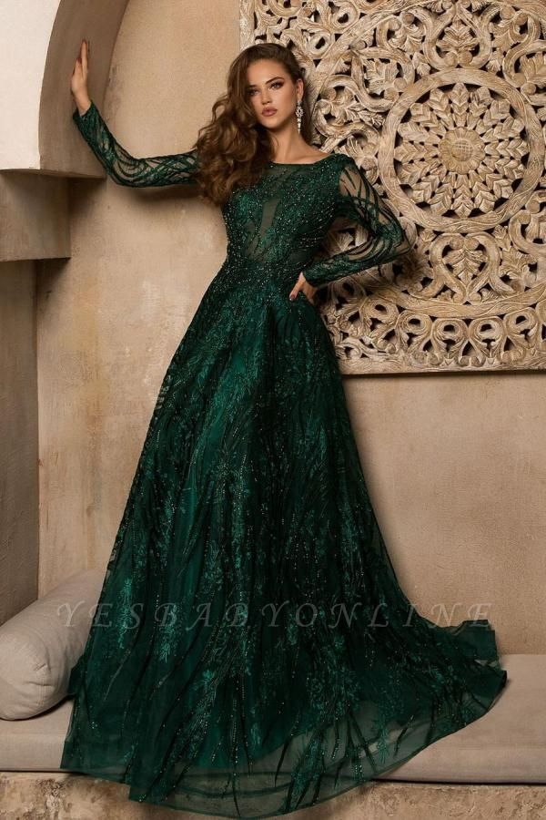 Elegant Jewel Jade Green Lace Ruffles Prom Dresses With Long Sleeves