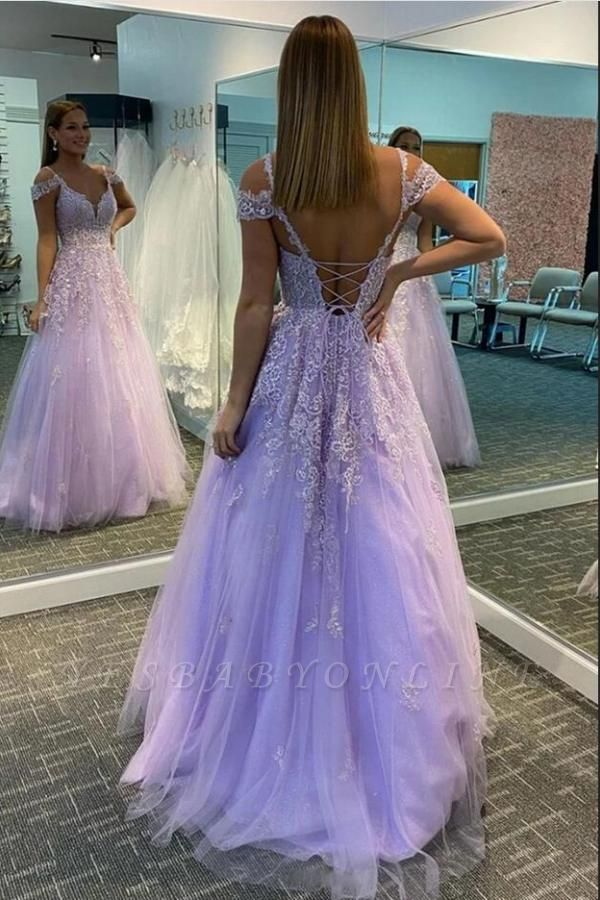 Gorgeous Sleeveless Purple Tulle A-Line Prom Dresses With Appliques