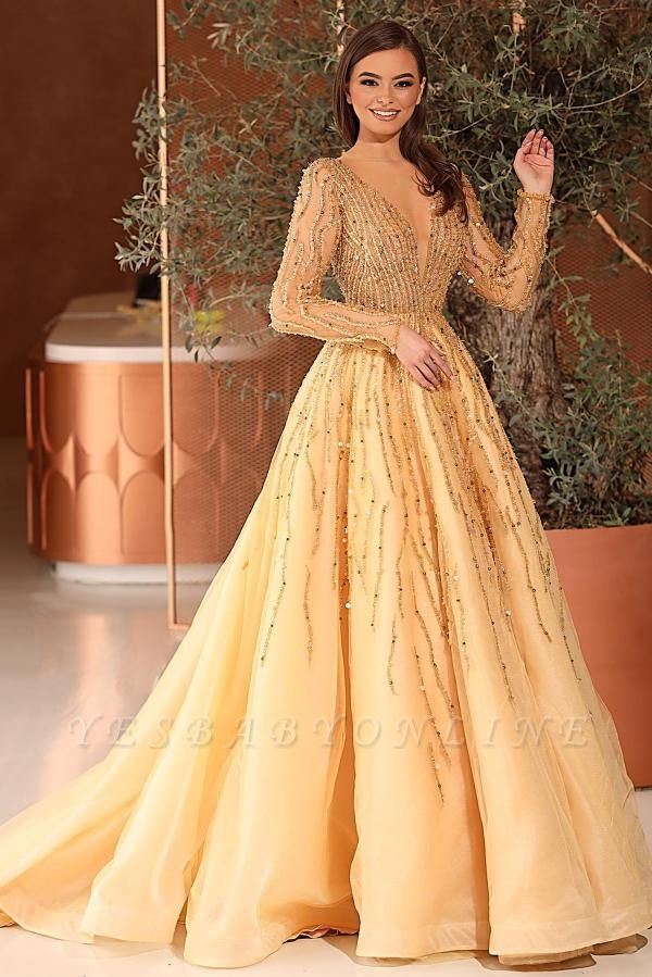 Gorgeous Tulle Daffodil Crystal A-Line Prom Dresses With Long Sleeves