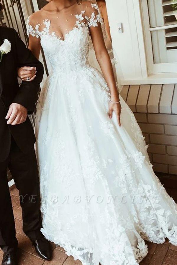 Glamorous Tulle Jewel Beading Appliques  A-Line Wedding Dresses
