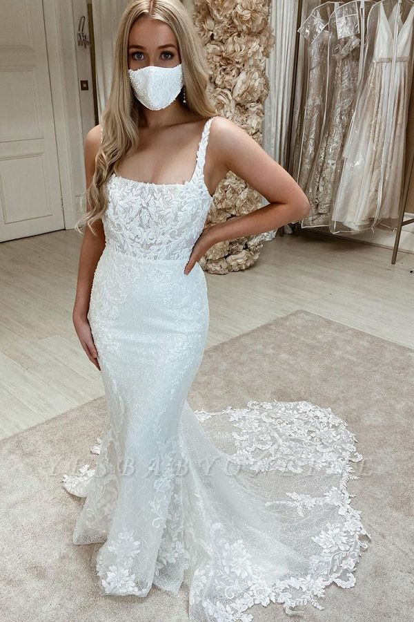 Women Sleeveless Square White Tulle Mermaid Wedding Dresses With  Appliques