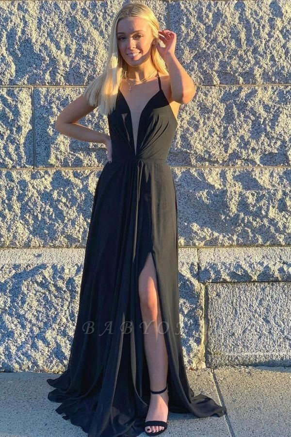 Chiffon Sleeveless Black Ruffles Front-Split Prom Dresses