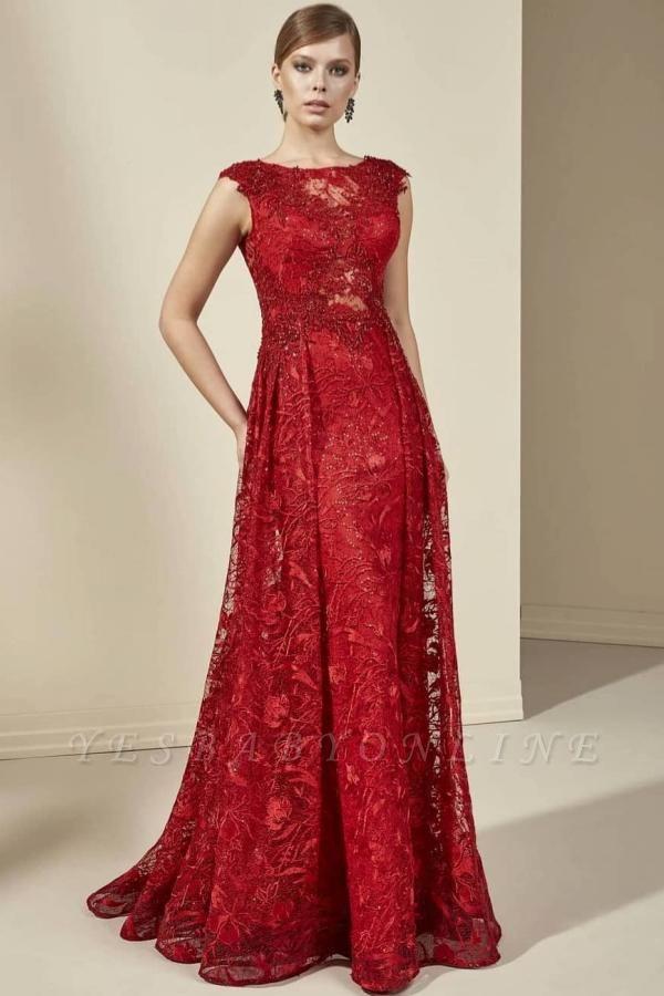 Elegant Sleeveless Jewel Tulle Ruby Beading Mermaid Prom Dresses With Appliques