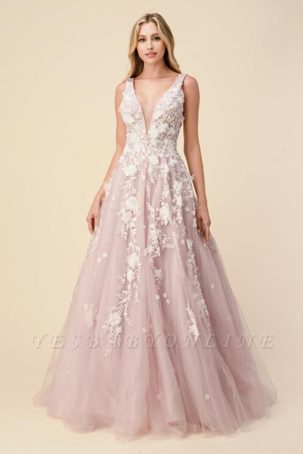 Tulle V Neck Long A-Line Prom Dresses With Lace Appliques