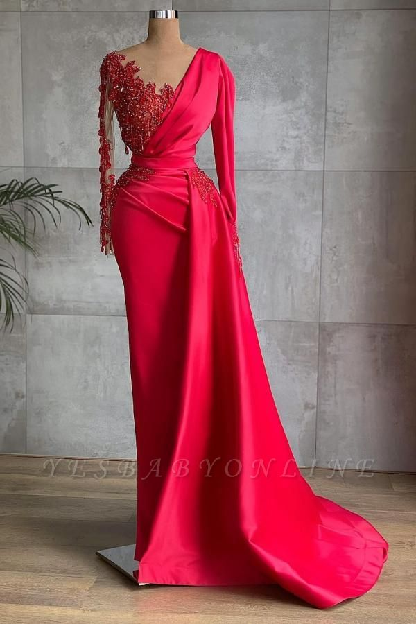 Long Sleeves Satin Red Lace Appliques Ruffles Mermaid Prom Dresses