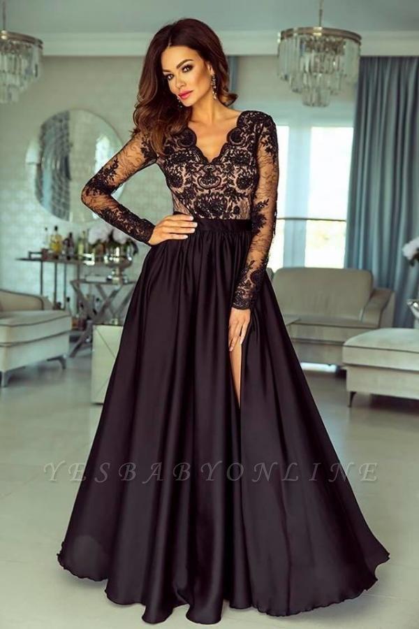 Chic Long Sleeves Black V Neck Lace Side-Split Prom Dresses