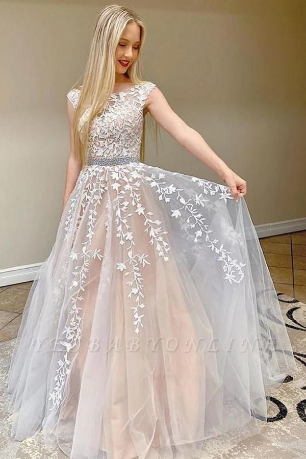 Elegant Tulle Sleeveless Lace Appliques A-Line Prom Dresses