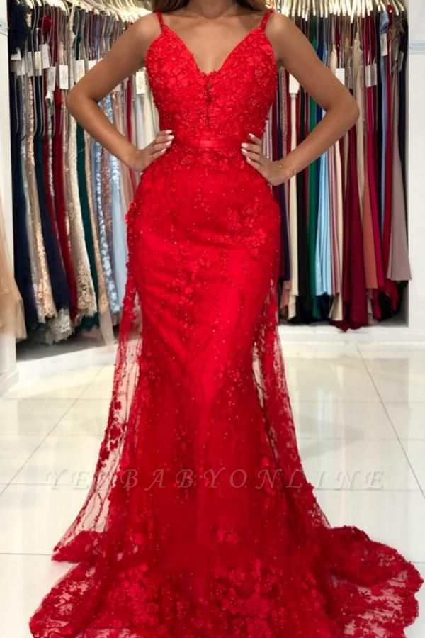 Sleeveless Ruby Lace Appliques Mermaid Prom Dresses