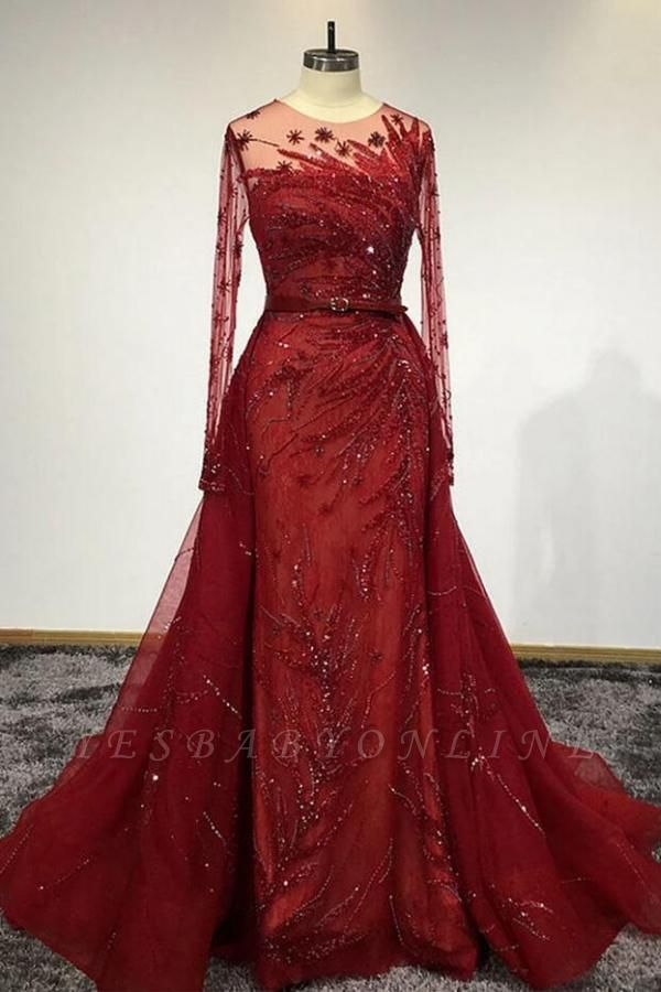 Luxury Long Sleeves Tulle Ruby Lace Appliques Mermaid Prom Dresses