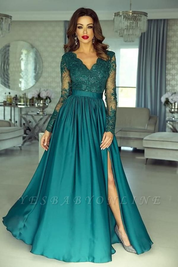 Elegant Long Sleeves V Neck Split Green Prom Dressses With Lace Appliques
