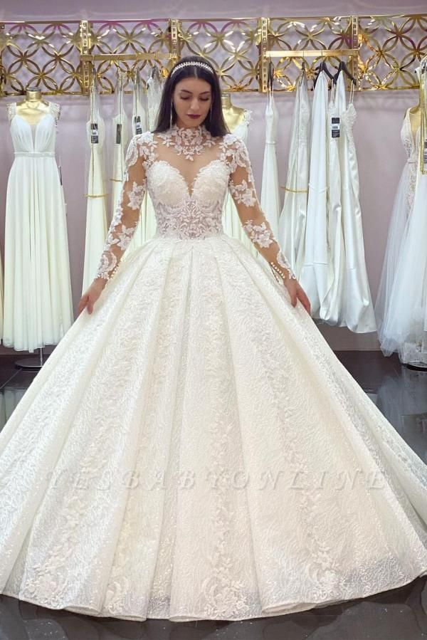 Princess Long Sleeves White Lace Appliques Ruffles Ball Gown Wedding Dresses