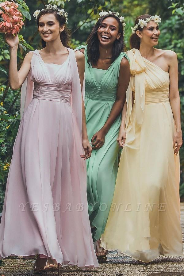 Vintage Chiffon Sleeveless Ruffles A-Line Bridesmaid Dresses