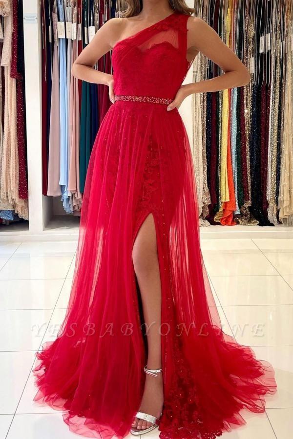 Vintage One Shoulder Tulle Ruby Split Lace Mermaid Prom Dresses