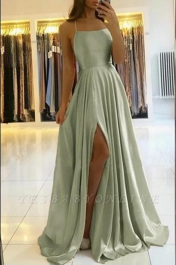 Vintage Sleeveless Light Green Ruffles Split A-Line Prom Dresses