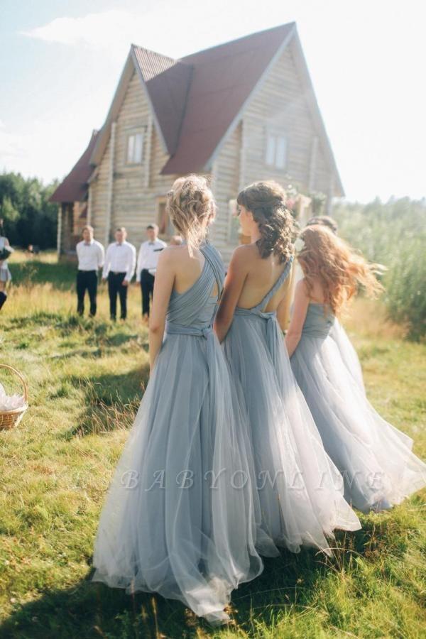 Elegant Tulle Sleeveless Mist Blue Ruffles A-Line Bridesmaid Dresses