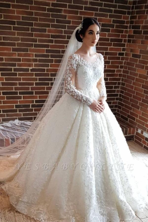 Long Luxury Princess Long Sleeves Jewel Lace Wedding Dress