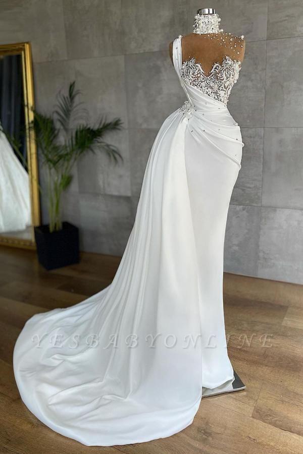 White Sleeveless Satin Beading Ruffles Mermaid Prom Dresses