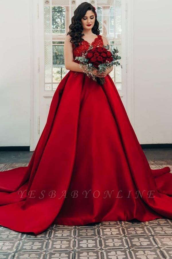 Modest Long Princess Satin Lace Wedding Dress