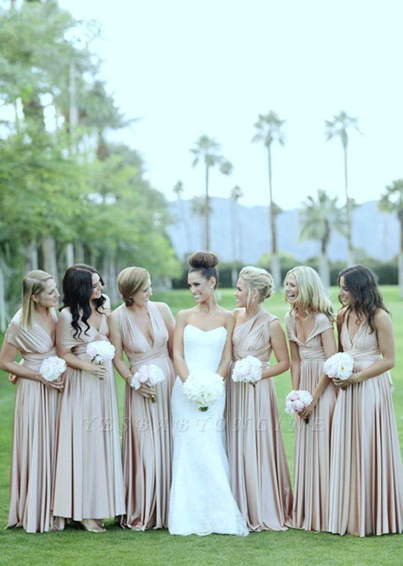 Elegant Sleeveless Satin Ruffles A-Line Bridesmaid Dresses