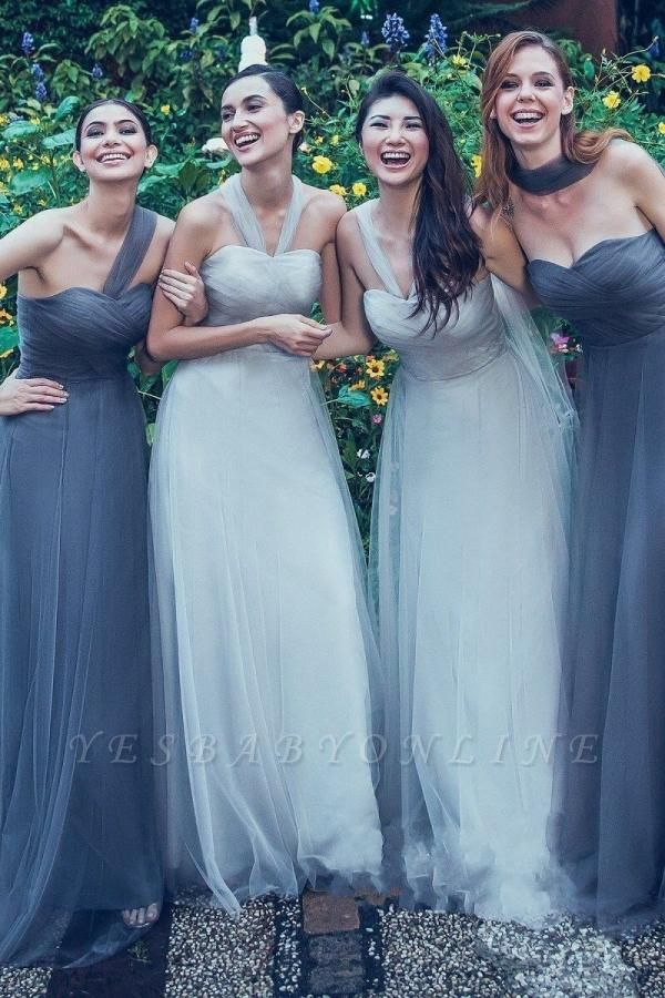 Charming Tulle Sweetheart Ruffles A-Line Bridesmaid Dresses