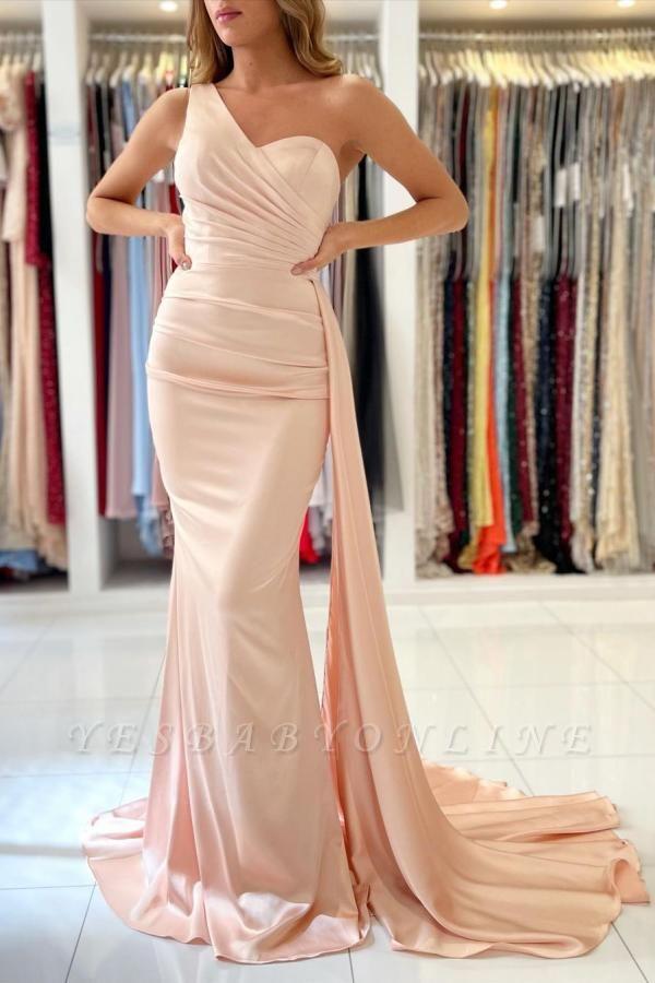 Elegant One Shoulder Nude Pink Zipper Mermaid Prom Dresses