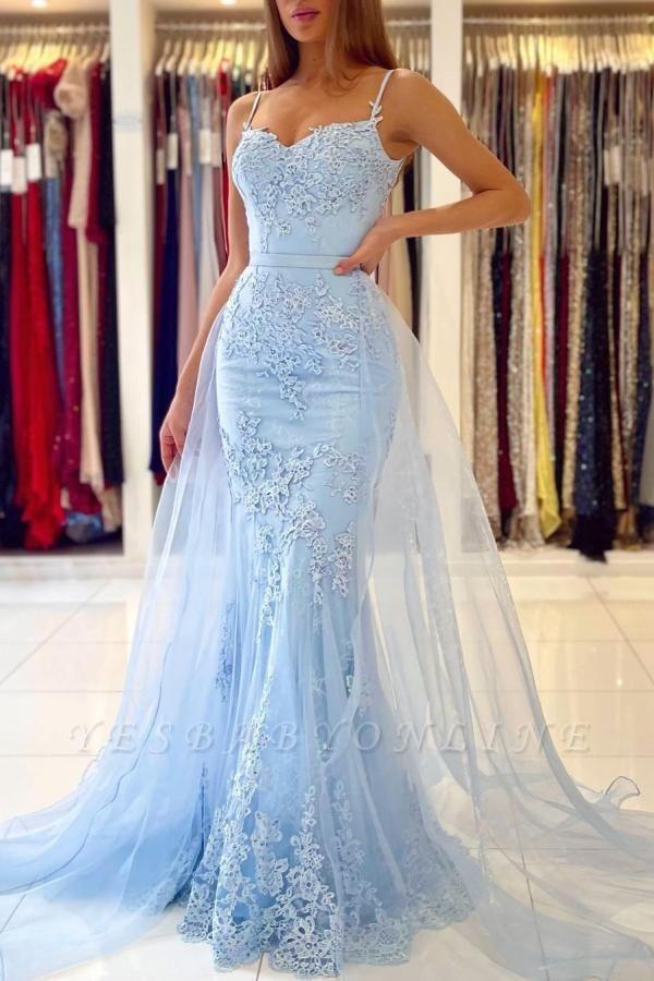 Graceful Spaghetti Straps Appliques Sky Blue Mermaid Prom Dresses