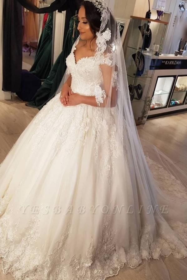 Modest Long Princess Off the Shoulder Wedding Dress with lace
