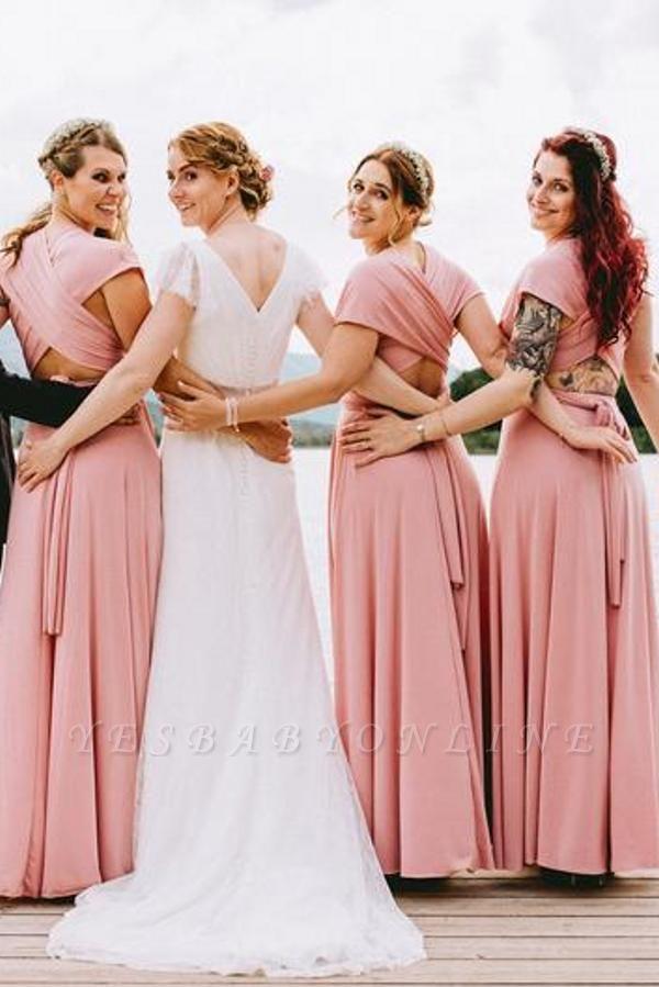 Chiffon Satin Ruffles A-Line Zipper Bridesmaid Dresses