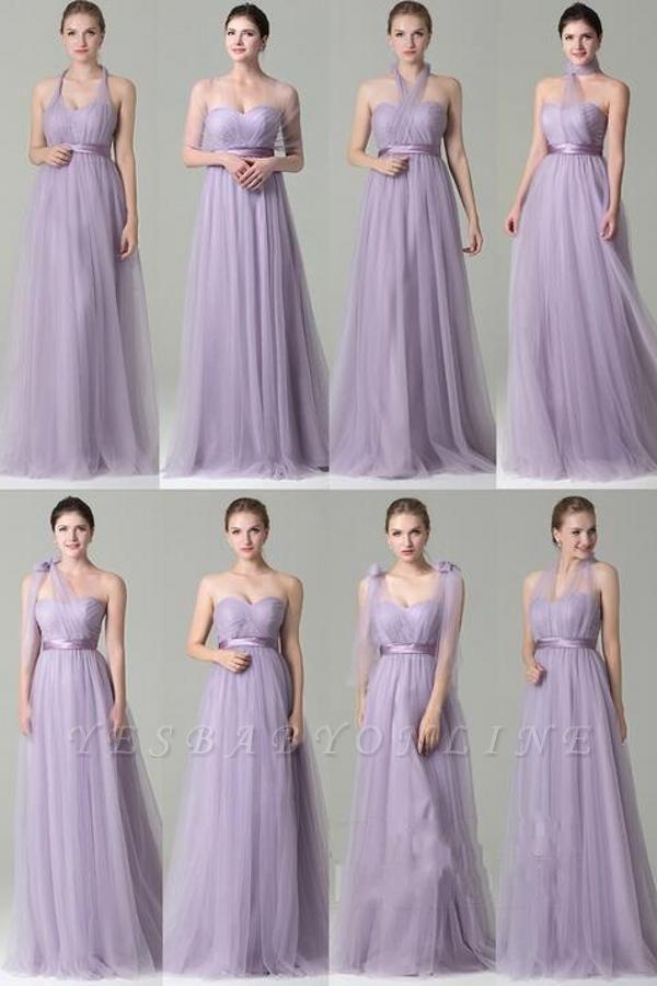 Clamourous Tulle Purple Sleeveless Ruffles A-Line Bridesmaid Dresses