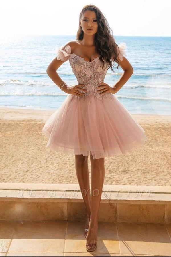 Adorable Off The Shoulder Tulle Light Pink Appliques Short Prom Dresses