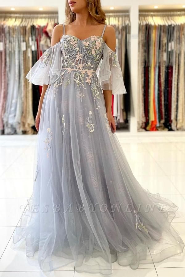 Princess Sleeveless Tulle Mist Blue A-Line Prom Dresses With Lace Appliques