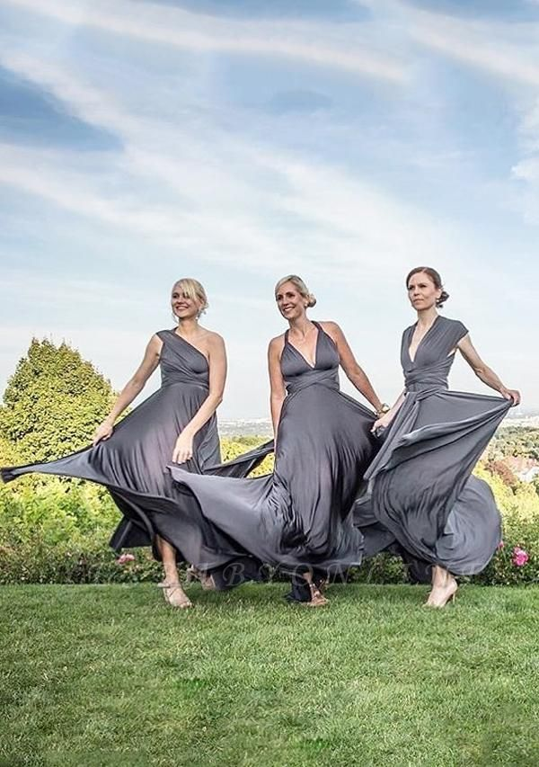 Charcoal Grey Multiway Infinity Bridesmaid Dresses | Convertible Wedding Party Dress