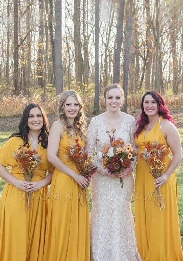 Mustard Yellow Multiway Infinity Bridesmaid Dresses   Convertible Wedding Party Dress